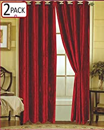 Editex Home Textiles Susane Crushed Velvet Curtain Panel with Grommet, Burgundy, Set of 2