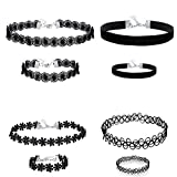 Prohouse(TM) Womens Vintage Black Lace Daisy Punk Gothic Tattoo Choker Necklace and Bracelet-4 Sets
