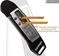 Sainlogic Ultra Fast Cooking Thermometer,Digital Instant Read Thermometer with Long Probe,LCD Screen,Anti-Corrosion, Best for Food, Meat, Grill, BBQ, Milk, and Bath Water by sainlogic