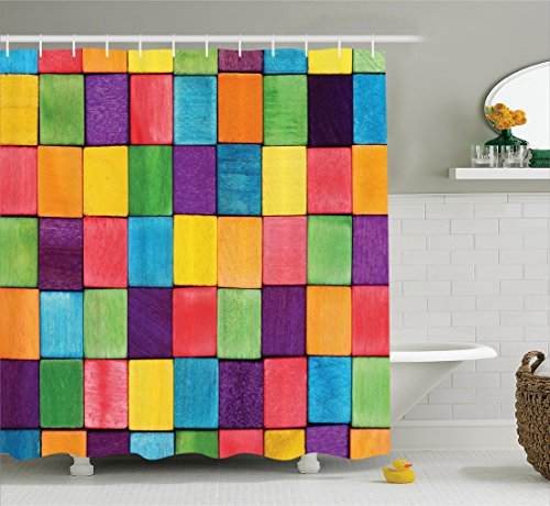 Abstract Home Decor Collection, Colorful Blocks Abstract Cube Shapes Vibrant Colors Polyester Fabric Bathroom Shower Curtain Set with Hooks, Purple Blue