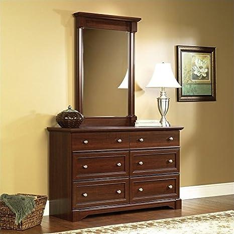 Sauder Palladia Six Drawer Dresser and Mirror Set in Select Cherry Finish