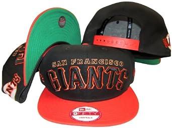 San Francisco Giants Black Orange Two Tone Plastic Snapback Adjustable Plastic Snap... by New Era
