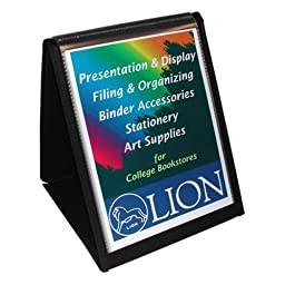 Lion Flip-N-Tell Display Easel Book - Letter - 8.50quot; Width x 11quot; Length Sheet Size - 40 Sheet Capacity - 20 Pockets - Polypropylene - Black - 1 Each
