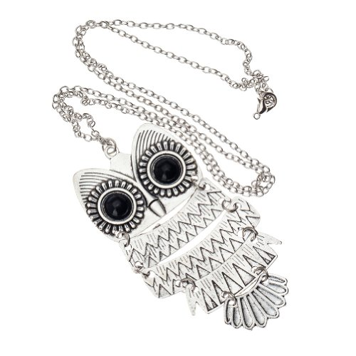 Vintage Classic Style Silver Chain Fashion Necklace Wise Owl Pendant By Vaga®