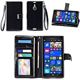 IZENGATE Nokia Lumia 1520 Wallet Case - Executive Premium PU Leather Flip Cover Folio with Stand (Black)