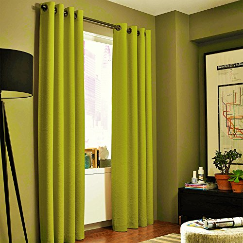 Gorgeous Home (#60) 1 PANEL SOLID LIME GREEN THERMAL LINED FOAM BLACKOUT HEAVY THICK WINDOW TREATMENT CURTAIN DRAPES SILVER GROMMETS (95