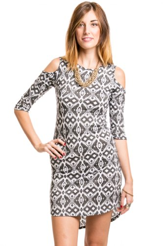 Tribal Print Dress in Black and White