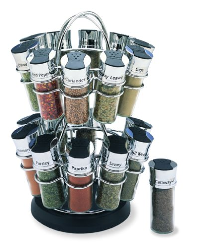 Olde Thompson Flower Style 20 Jar Filled Spice Rack
