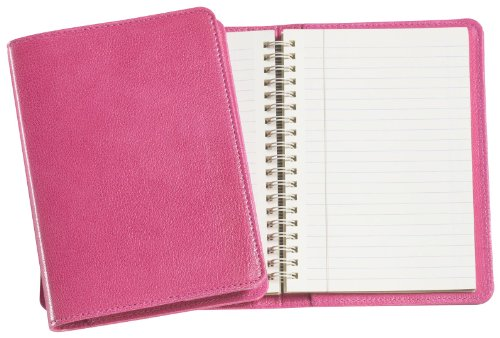 Graphic Image Wire-O-Notebook, Goatskin Leather, 7-Inches, Pink (JS7MRBLGTIPNK)
