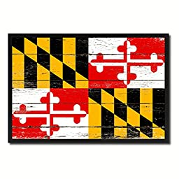 Maryland State Shabby Chic Flag Art Canvas Print Custom Picture Frame Office Wall Home Decor Gift Ideas, 19''x27''