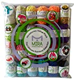 Premium Miniature Value Yarn Pack - 24 Acrylic Yarn Skeins - Assorted Colors - Perfect for Any Crochet and Knitting Mini Project - Resealable Bag - FREE Ebook Included