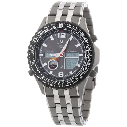 QT-Quality-Time-Mens-Quartz-Watch-World-Timer-QGS-11139-55M-with-Metal-Strap