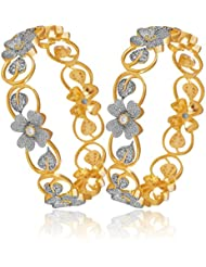 ESHOPITUDE FLORAL CZ AMERICAN DIAMOND GOLD PLATED BANGLES SET FOR WOMEN 2.6