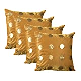 ExclusiveLane Polka Dots Silk Cushion Cover - Set Of 4