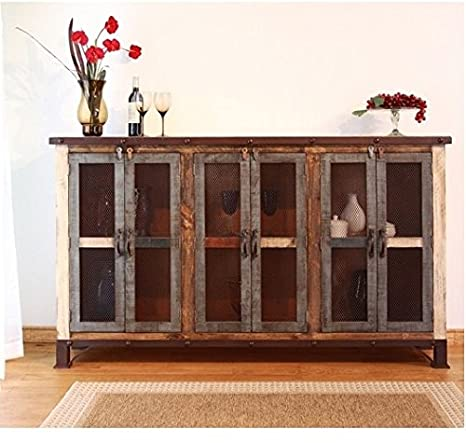 """70"""" Montana 6 Door Buffet Iron Mesh Cabinet Cupboard Rustic Hardwood Painted"""