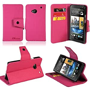 JKase Executive Series Wallet Cover Case with Credit / Business Card Holder For HTC One (M7) (Pink)