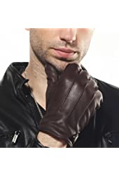 ELMA Men's Deerskin Leather Winter Driving Cashmere Lined Gloves