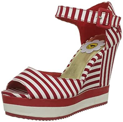 Rocket Dog Women's Spirit Red Lucky Stripe Ankle Strap Heels 7 UK