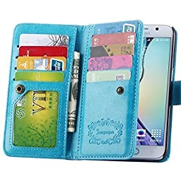 S6 Case, Galaxy S6 Case, Joopapa Samsung Galaxy S6 Wallet Case,luxury Fashion Pu Leather Case Magnet Wallet Credit Card Holder Flip Cover Case Built-in 9 Card Slots & Stand Case for Samsung Galaxy S6 (Blue)