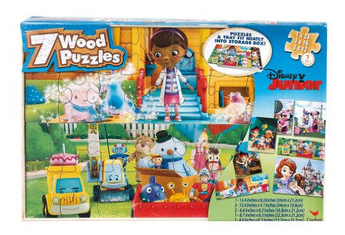 Disney Junior 7 Wood Jigsaw Puzzles in Storage Box