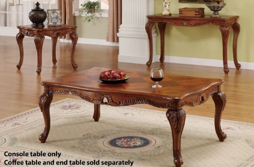 Cheap Console Table with Carved Leaf Accent in Brown Finish (VF_F6233)