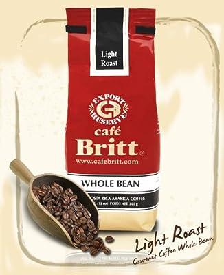 Cafe Britt Costa Rica Light Roast Whole Bean Coffee, 12 Ounce Bag
