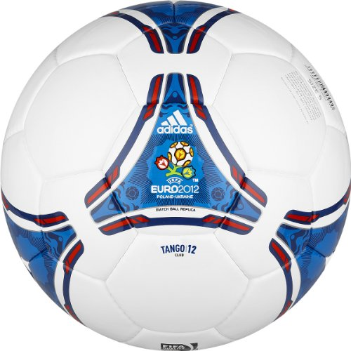 Adidas Euro 2012 Club Soccer Ball (White, Power Blue, Size 5)