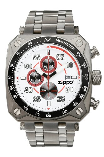 Zippo Chronograph Sports Watch With White Dial And Stainless Steel Band front-32978