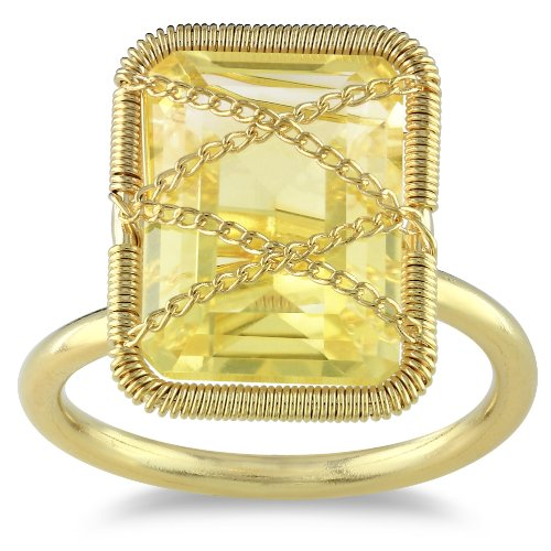 14K Yellow Gold Silver 7.2 CT Emerald Cut Citrine Cocktail Ring, Size 7
