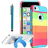 iPhone 5C case, ULAK Hybrid TPU + PC 2in1 Hard Case Cover for iPhone 5c with Screen Protector Stylus Rainbow