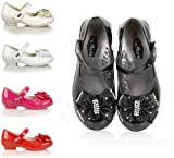 NEW GIRLS KIDS VELCRO DIAMANTE PROM WEDDING WEDGE HEEL SHOES PARTY SANDALS