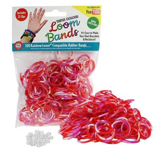 Telar de gomas - 300 Pc Triple banda de caucho relleno paquete de Color (rojo, rosado, blanco) - 100% látex libre y Compatible con los telares