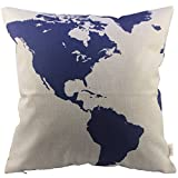 HOSL P18 Cotton Linen Square Throw Pillow Case Decorative Fashion Cushion Cover Pillowcase Captain Blue Map 18