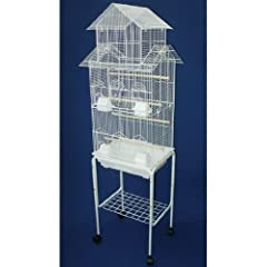 "Large Pagoda House Canary Parakeet Cockatiel LoveBird Finch Bird Cage With Stand --18""x14""x60""-*White"