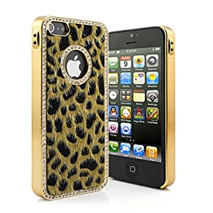 iClover -NEW LUXURY & ELEGANT iPhone 5 HARD PROTECTIVE CASE. LEOPARD FAUX FUR SURROUNDED WITH CRYSTALS RHINESTONES DESIGN