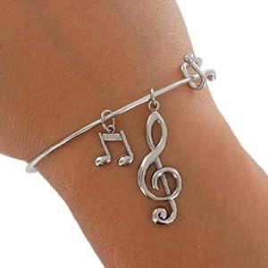 Ky & Co Silver Tone Bracelet Bangle Music Notes G Clef Treble Charm USA Made