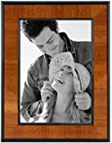 Malden International Designs Burl Wood Walnut Wooden Picture Frame with Black Border, 5 by 7-Inch