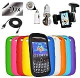 Accessory Master Pack de 10 Housses en silicone pour BlackBerry Curve 9320 + Pack de 10 Films de protection d'�cran Assortis + 1 c�ble USB + 1 chargeur allume cigare et d'un support pour voiture