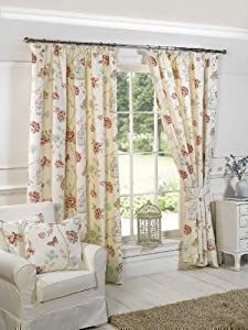 """Cream Pink Butterfly Cage Cotton Blend Pencil Pleat Lined Curtains 66"""" X 54"""" by PCJ SUPPLIES"""