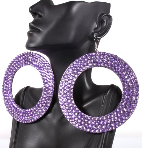 Basketball Wives Earrings Purple Oval Style 3.75 Inch Drop with Rhinestones Mob POParazzi