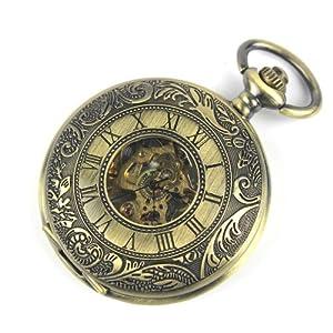 Skeleton Mechanical Movement Pocket Watch Classic Hand Wind Roman Numerals Antique Bronze Tone Half Hunter