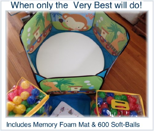 """36"""" X 36"""" Pop-Up Play-Ball Pit With 600 Next Generation Playsoftballs - Phthalate Free Pit Balls Packed In Zipper Tote Bags For Easy Storage. Each Ball Measures 2.4"""", A Great Size For All Ages. Great Ball Pit Balls, Includes 1"""" Thick Memory Foam Mat."""