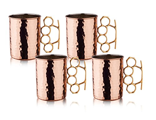 Old Dutch International Brass Knuckle Hammered Moscow Mule Mug, 20-Ounce, Copper, Set of 4 (Brass Knuckle Beer compare prices)