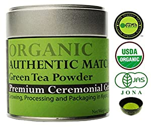 Matcha Green Tea Powder. [USDA Organic] Best Antioxidant- Japanese Green Tea. Premium Ceremonial Grade. 1.06 Oz (30 g) Tin.