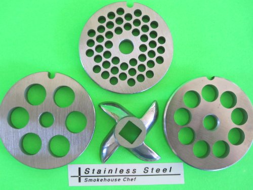 #5 Set (3) Plates And (1) Knife For Chefs Choice Meat Grinder Food Chopper For Kitchenaid Mixer