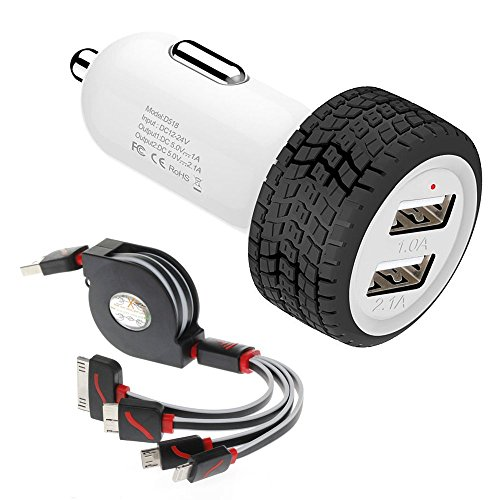 Car Charger, Powerful Dual USB Car Charger + 4 in 1 Multiple USB Charger Cable Combo for Apple iPhone 4s 5s 6 6s Plus , iPad Mini Air , Samsung, Google Nexus 7, HTC, LG, Nokia, Tablets And More