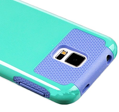 Mylife Smooth Sky Blue And Lavender Purple - Free Flex Series (2 Layer Neo Hybrid) Slim Armor Case For The New Galaxy S5 (5G) Smartphone By Samsung (External Rubberized Hard Shell Flex Piece + Internal Soft Silicone Flexible Bumper Gel)