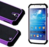 myLife (TM) Black and Purple - Classic Rugged Design (2 Piece Hybrid Bumper) Hard and Soft Case for the Samsung Galaxy S4