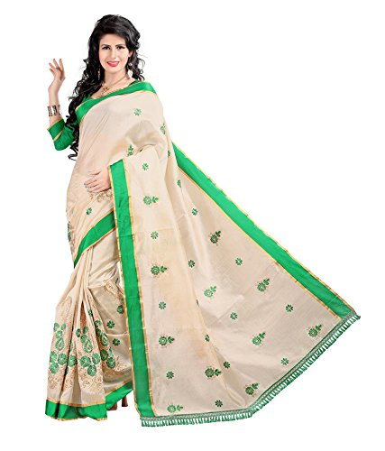 Yashoda Textile Green Color Chanderi Silk Embrodired Sarees With Un-Stitched Blouse Piece (1y.s_527_Green)
