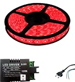 Iplay Self Adhesive Water Proof SMD Strip LED Light in Red Colour With LED Driver & Power Cord